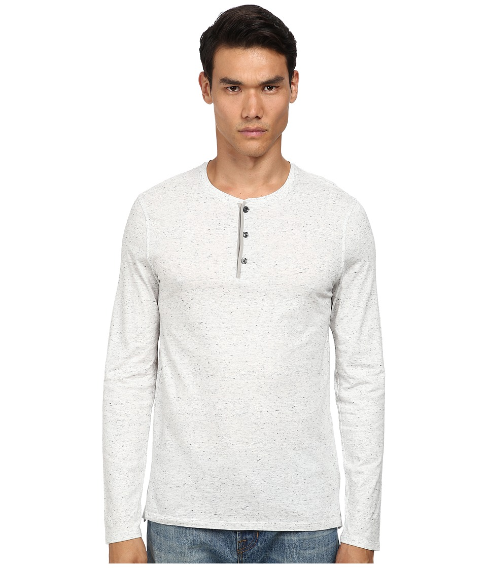 Vince - Long Sleeve Henley (Heather White) Men's Long Sleeve Pullover