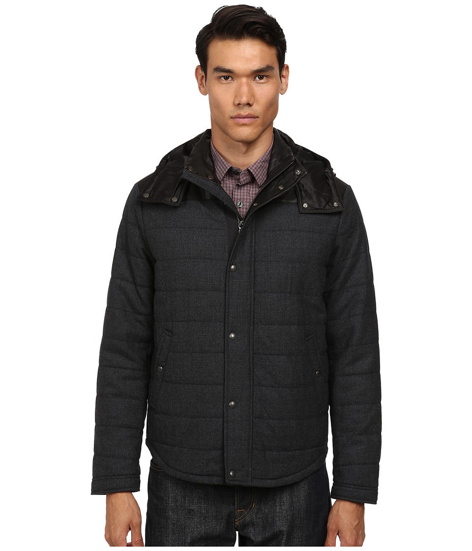 Vince - Quilted Jacket w/ Leather Piecing (Heather Black) Men's Coat