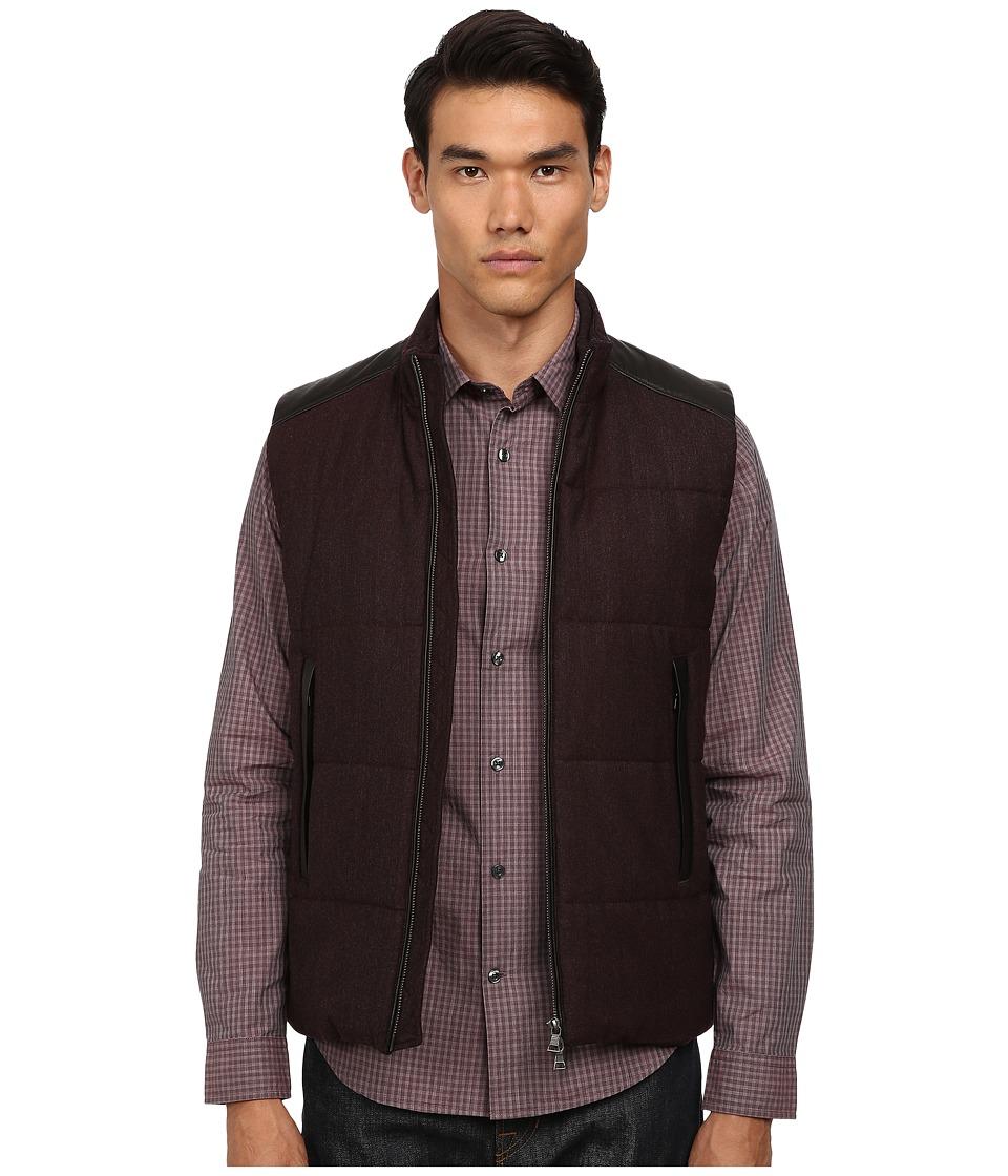 Vince - Quilted Vest w/ Leather Piecing (Cordovan) Men's Vest