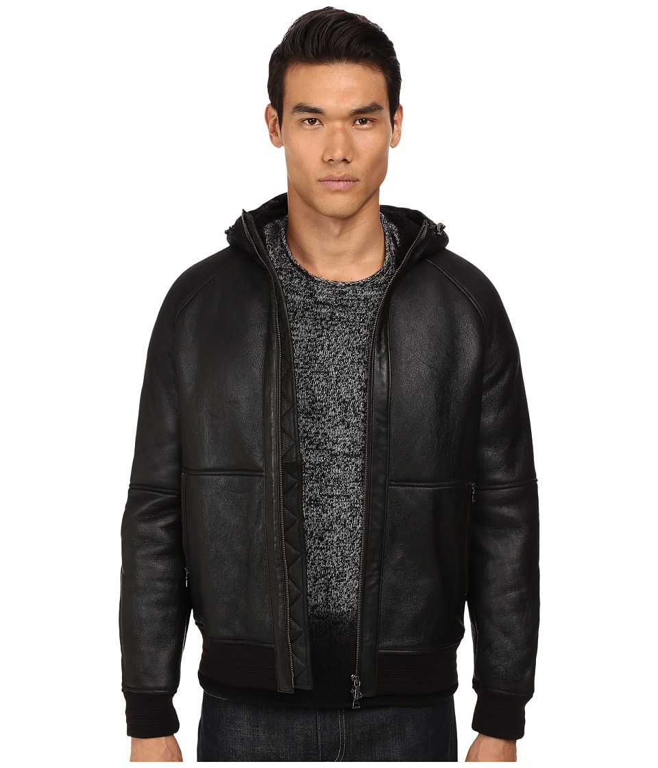Vince - Hooded Shearling Jacket (Black/Black) Men's Coat