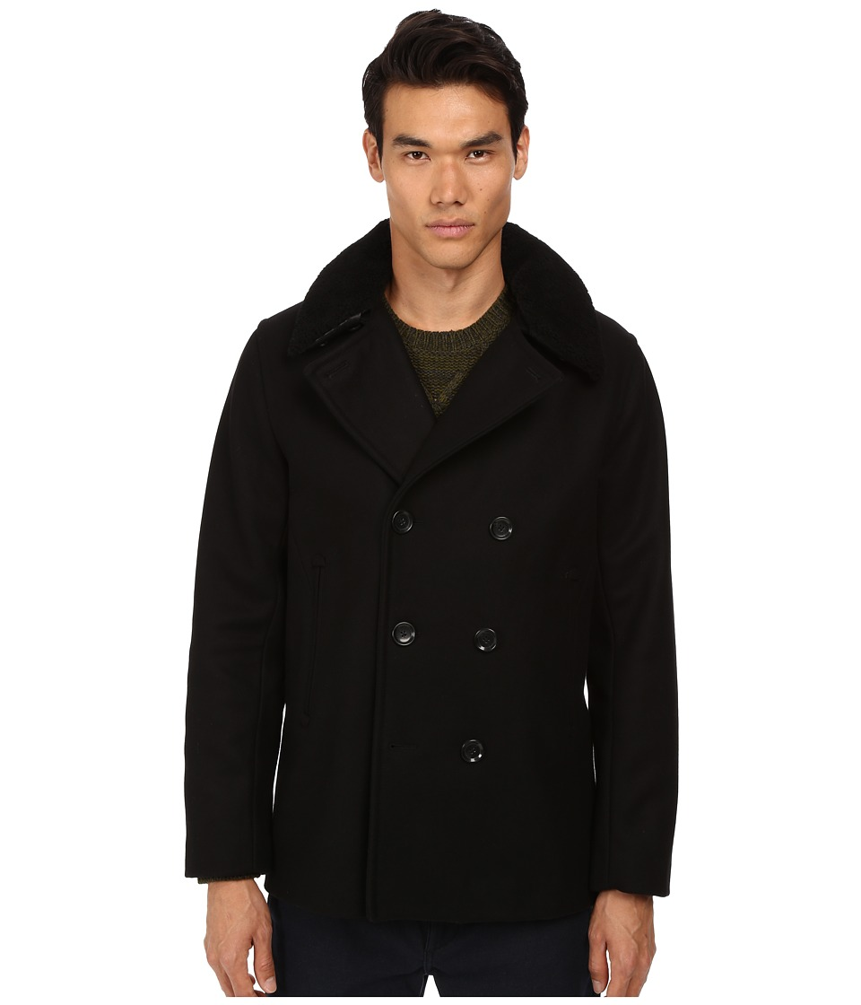 Vince - Mouton Collar Peacoat (Black) Men's Coat