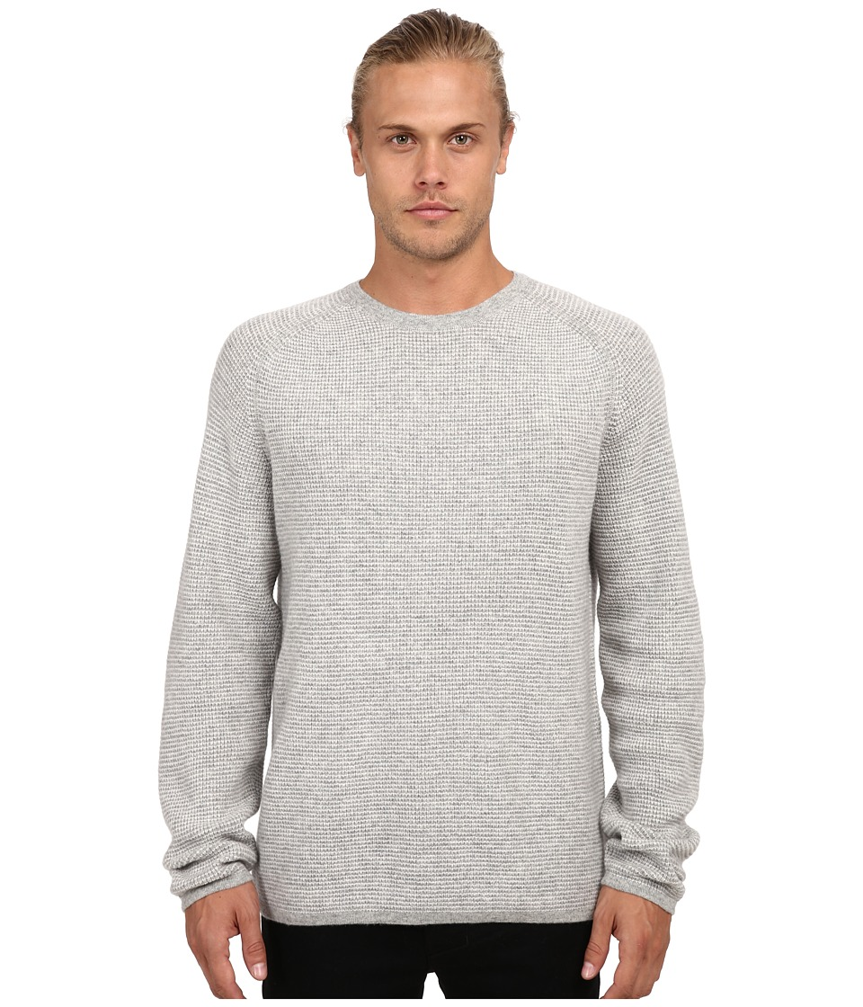 Vince - Long Sleeve Thermal Stripe Crew (Heather Steel) Men's Sweater