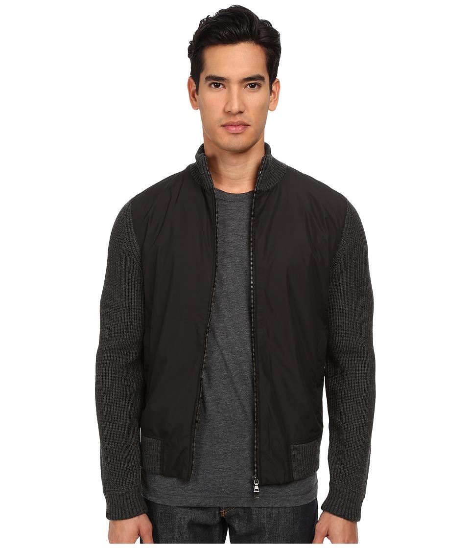 Vince - Wool Nylon Zip Front Jacket (Heather Black) Men's Coat