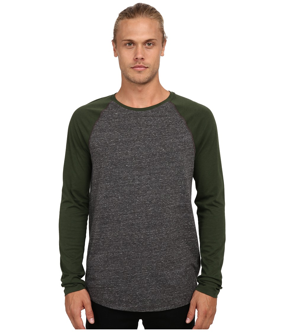 Vince - Long Sleeve Color Block Raglan Baseball (Heather Black/Fir Green) Men's Sweater