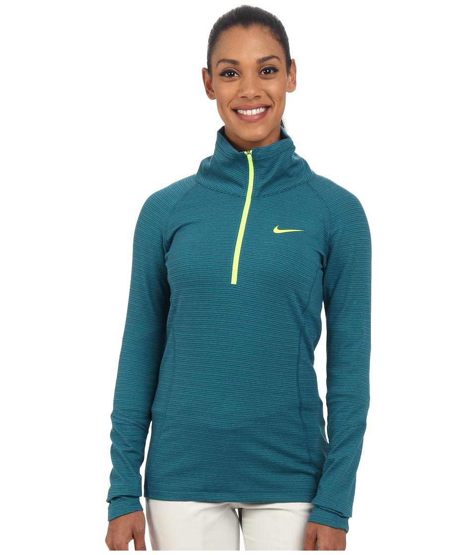Nike Golf - Warm 1/2 Zip (Teal/Radiant Emerald/Heather/Volt) Women's Clothing