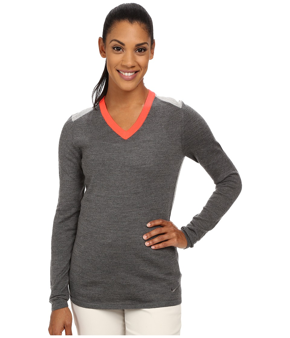 Nike Golf - Colorblock Sweater (Charcoal Heathr/Dark Grey Heather/Bright Crimson/Dark Grey) Women