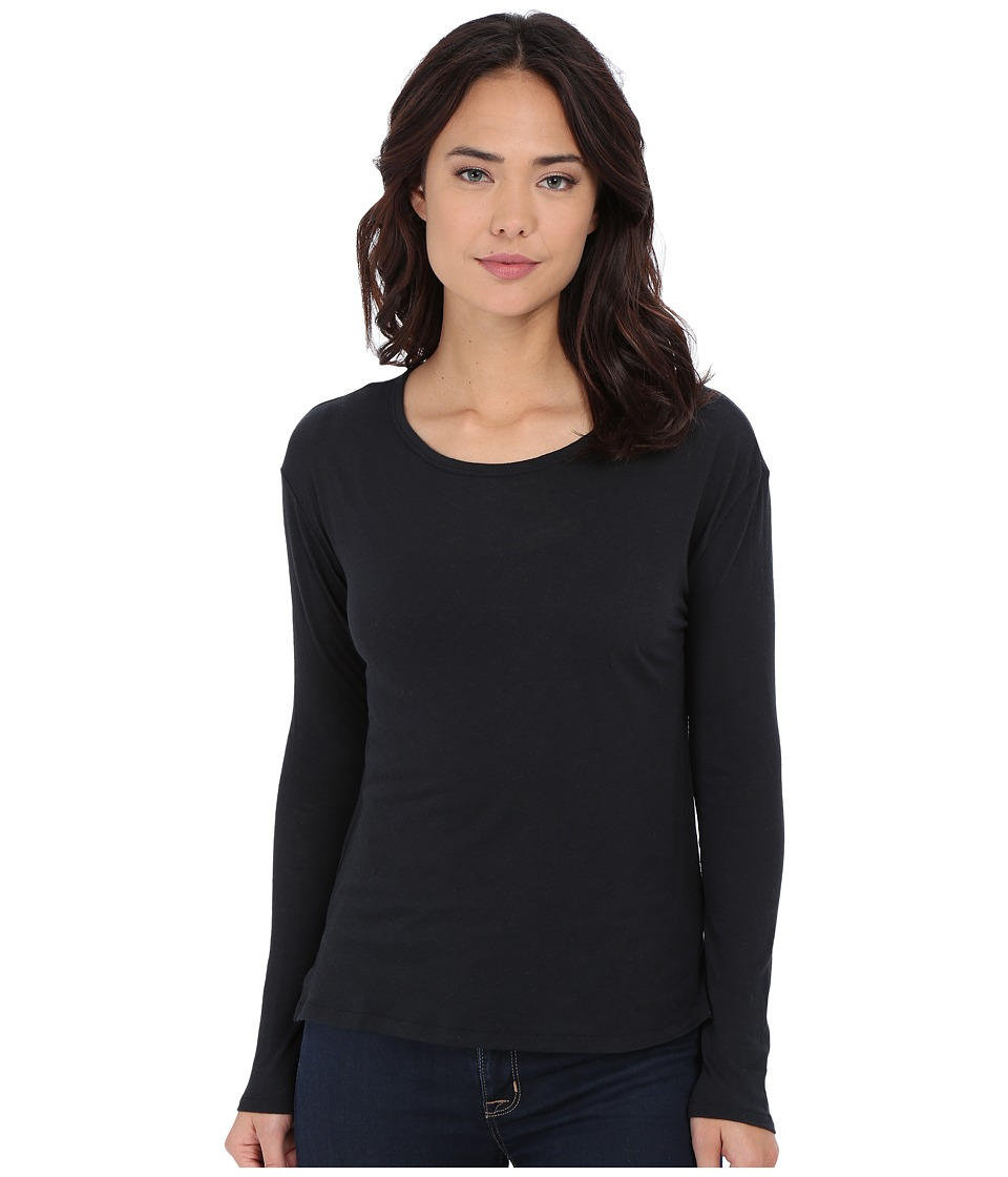 RVCA - Label Long Sleeve Top (Black) Women's T Shirt