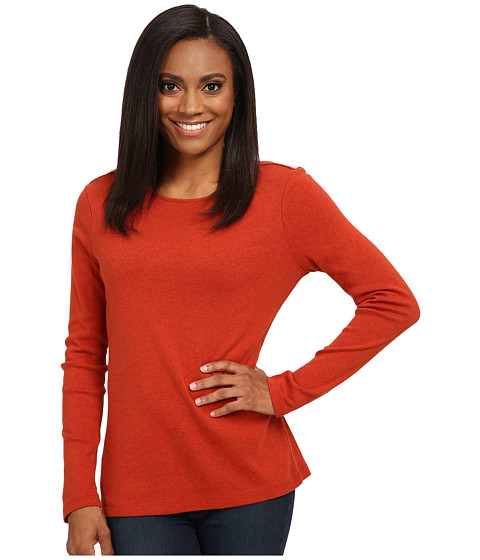 Pendleton - Long Sleeve Jewel Neck Rib Tee (Red Ochre) Women's Long Sleeve Pullover
