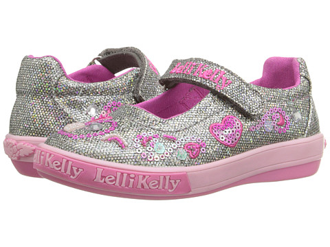 Lelli Kelly Kids - Hearts Dolly (Toddler/Little Kid) (Pewter Glitter) Girls Shoes