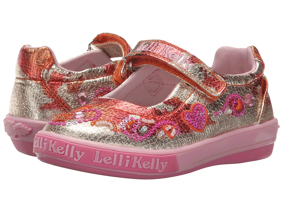 Lelli Kelly Kids - Hearts Dolly (Toddler/Little Kid) (Metallic Orange/Gold) Girls Shoes