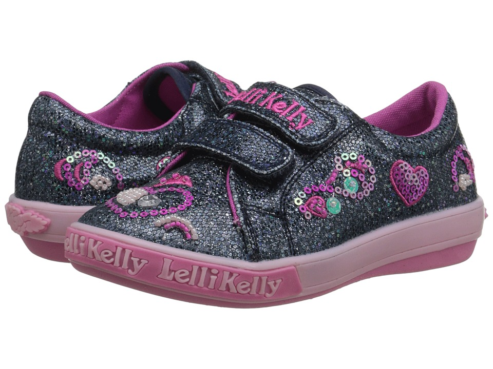 Lelli Kelly Kids - Hearts Velcro (Toddler/Little Kid) (Navy Glitter) Girls Shoes