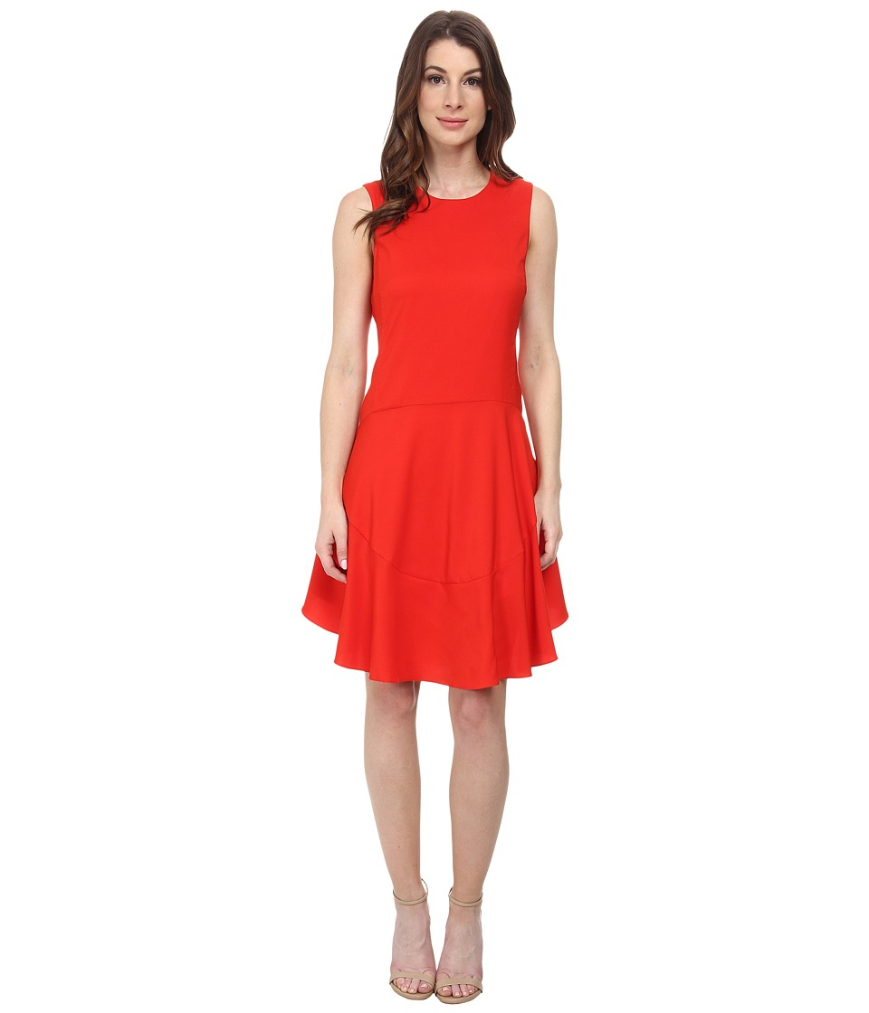 Donna Morgan - Sleeveless Charmeuse Flippy Skirt Dress (Hot Pepper) Women