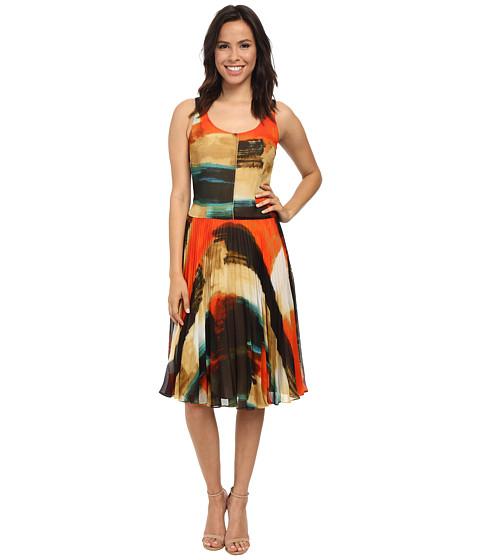 Donna Morgan - Sleeveless Dress w/ Pleated Mid-Length Skirt (Orange Multi) Women