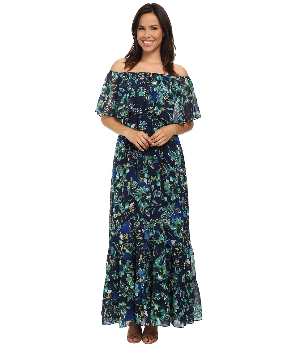 Donna Morgan - Off-Shoulder Chiffon Maxi Dress (Iceberg Multi) Women