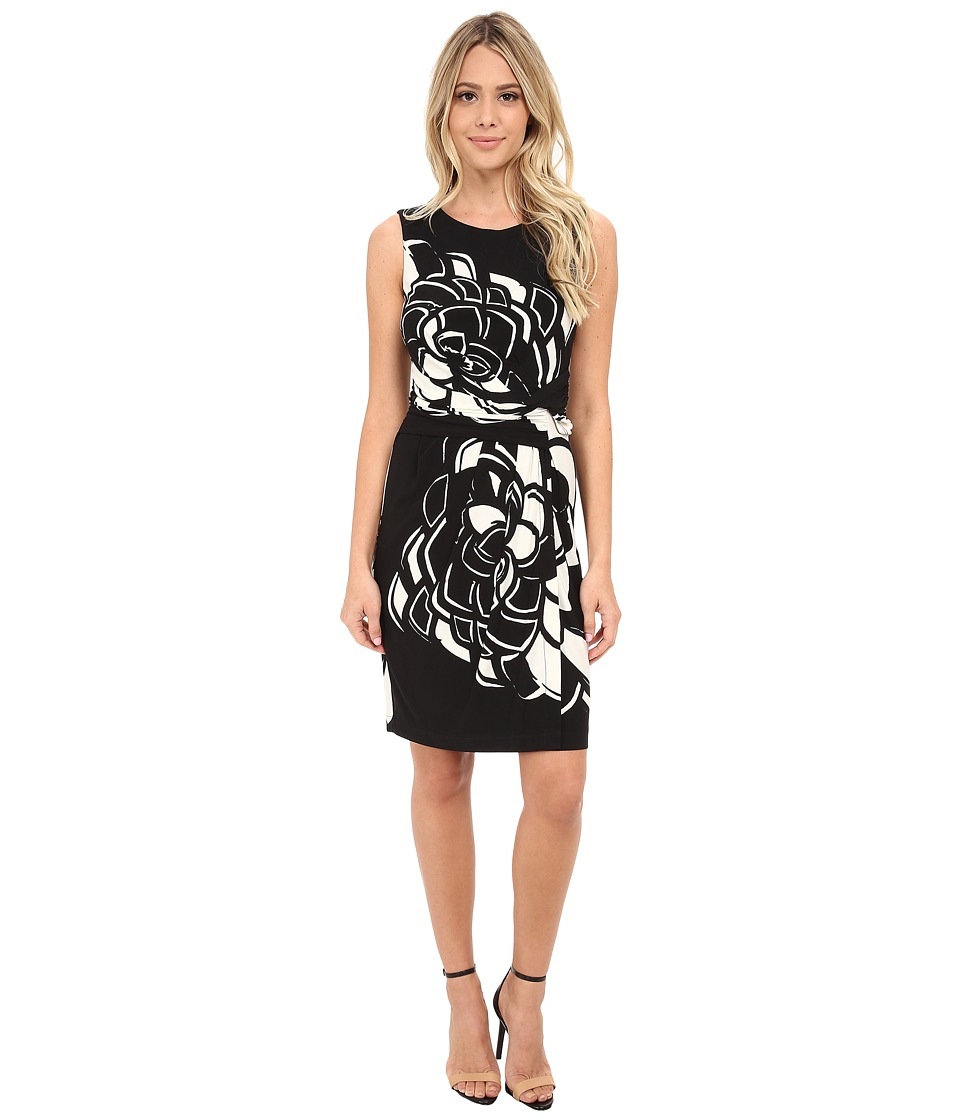 Donna Morgan - Sleeveless Jersey Rouch Waisted Floral Printed Dress (Black/Enamel) Women