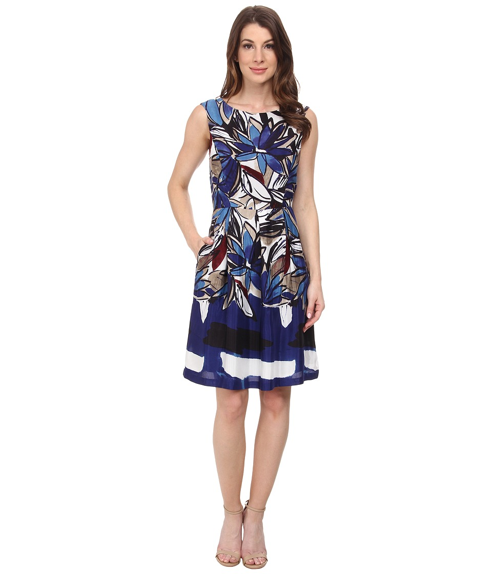 Donna Morgan - Sleeveless Box Pleat Fit and Flare Dress (Blue Multi) Women