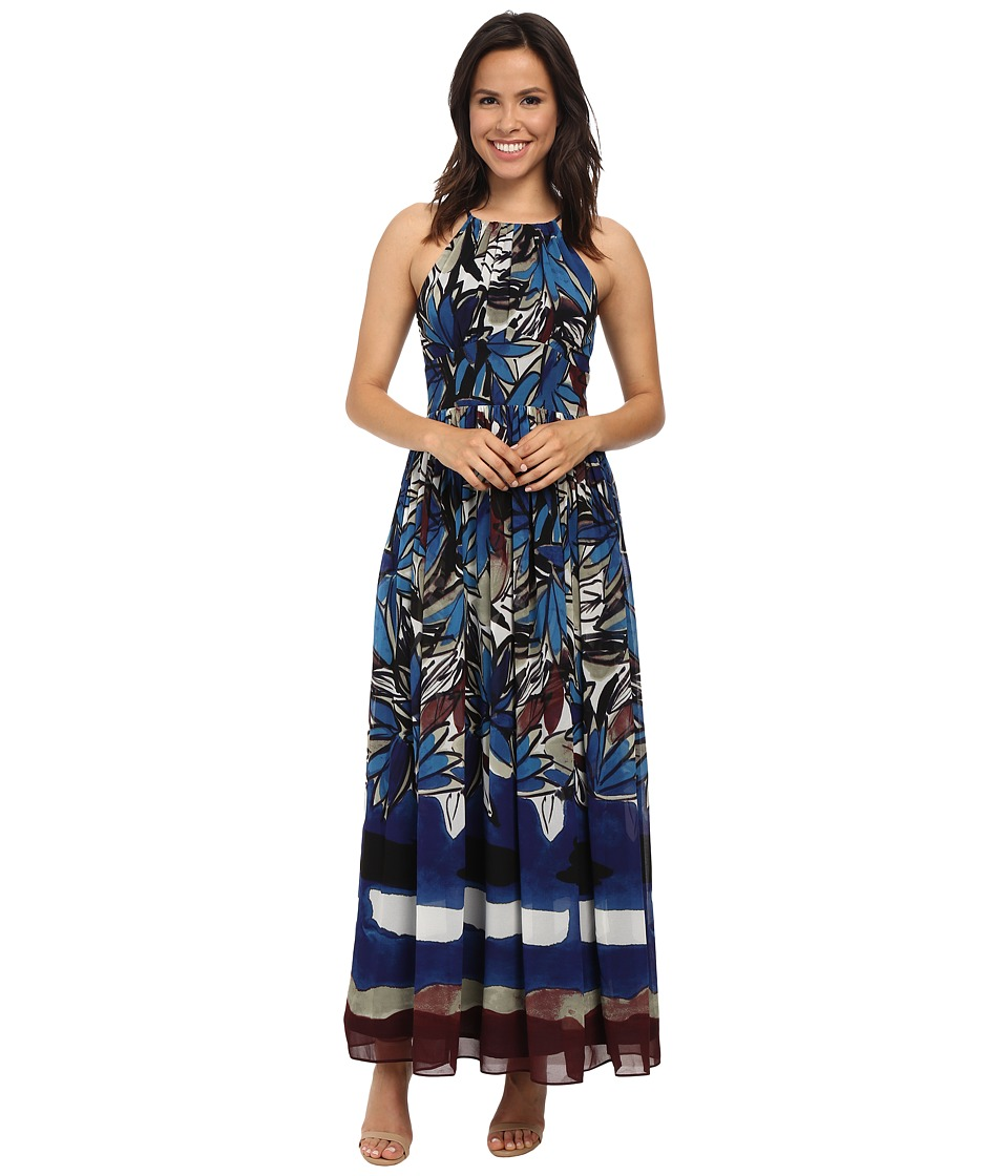 Donna Morgan - Halter Chiffon Maxi Dress (Blue Multi) Women's Dress