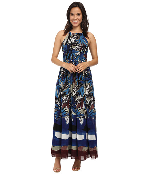 Donna Morgan - Halter Chiffon Maxi Dress (Blue Multi) Women