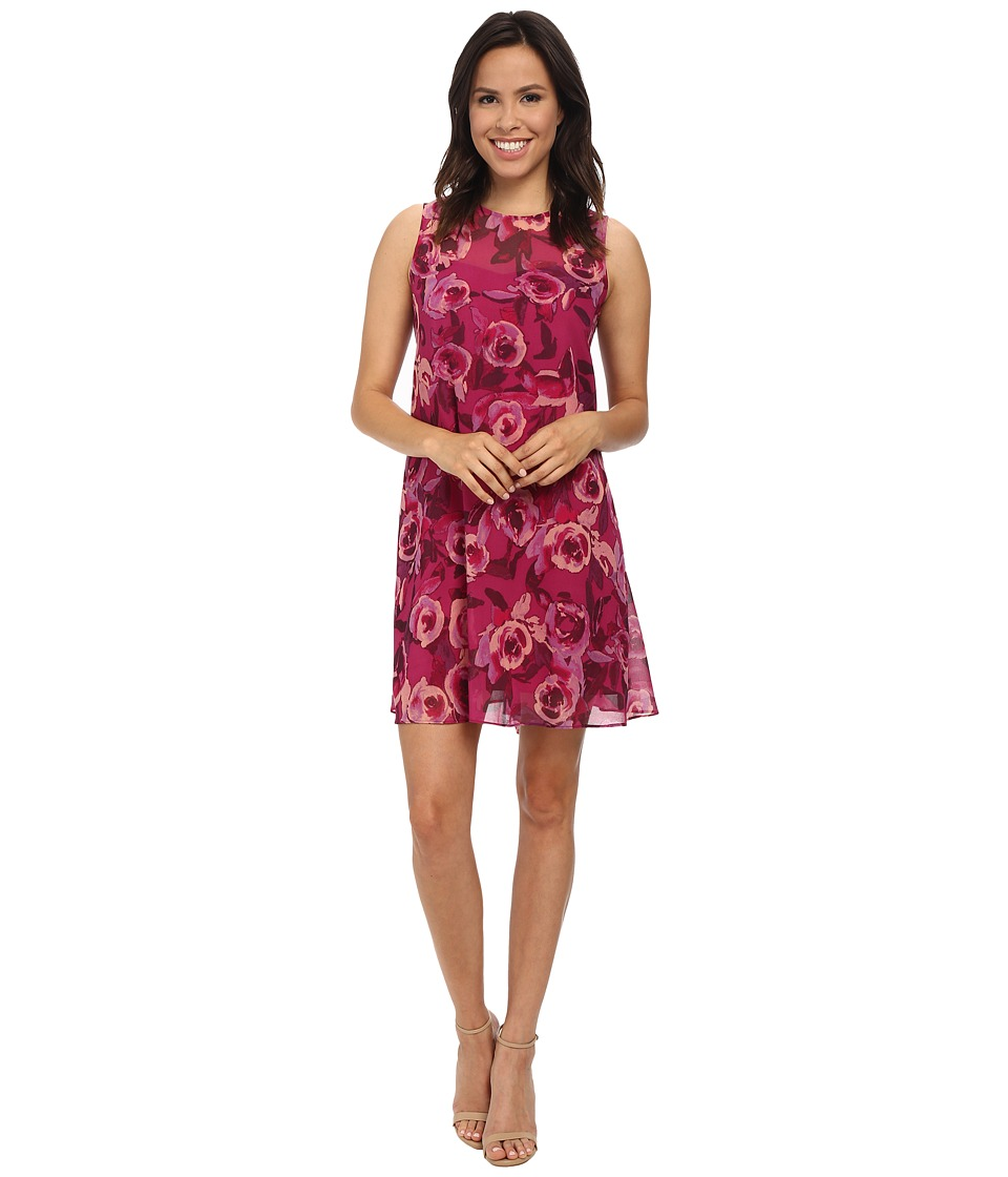 Donna Morgan - Sleeveless Chiffon Floral Print Dress (Berry/Shell) Women's Dress