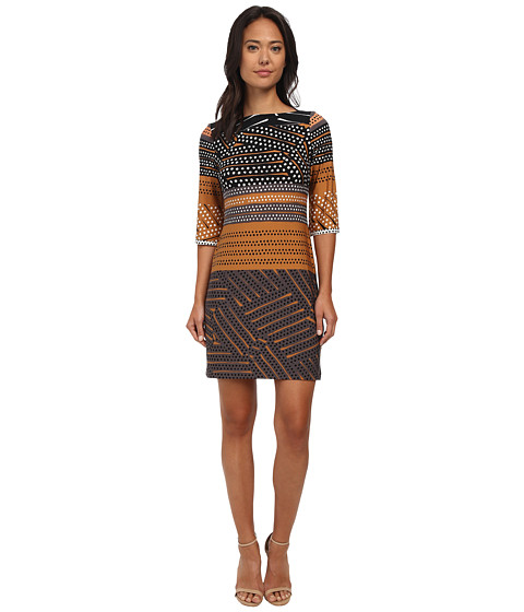 Donna Morgan - 3/4 Sleeve Jersey Printed Shift Dress (Terracotta Multi) Women's Dress