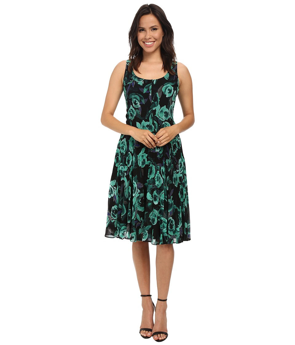 Donna Morgan - Sleeveless Dress w/ Pleated Mid-Length Skirt (Green/Black) Women