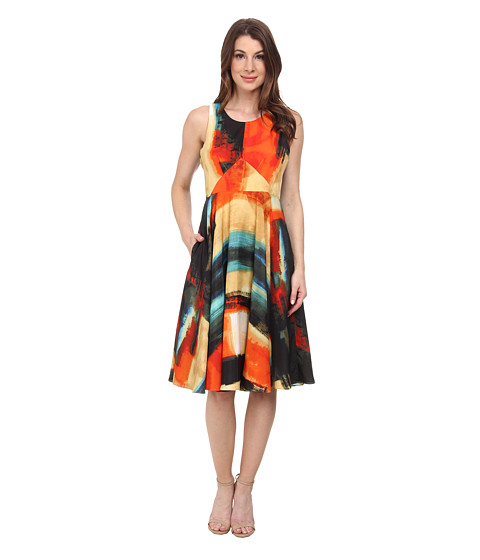 Donna Morgan - Sleeveless Rayon Fit and Flare Dress (Orange Multi) Women
