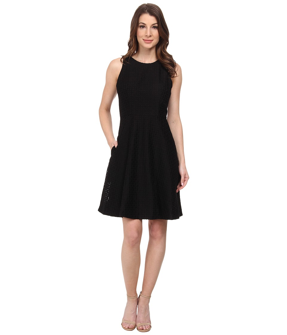 Donna Morgan - Sleeveless Embroidered Organza Fit and Flare Dress (Black) Women's Dress