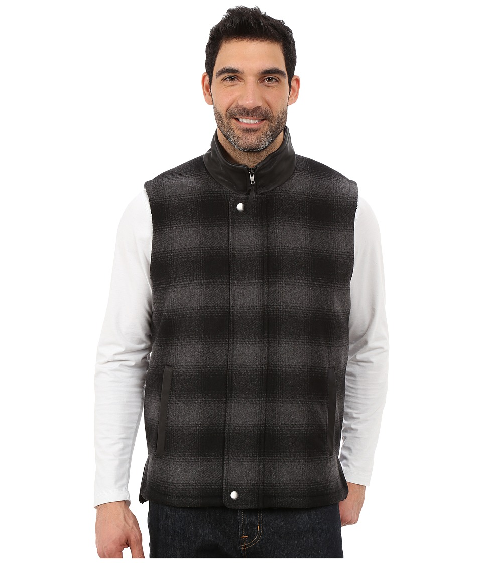 Stetson - Black Gray Plaid Wool Blend Vest (Black) Men's Vest