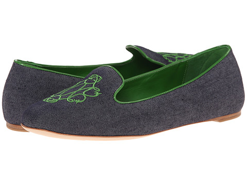 Johnston & Murphy - Riley Embroidered Slipper (Blue/Green) Women