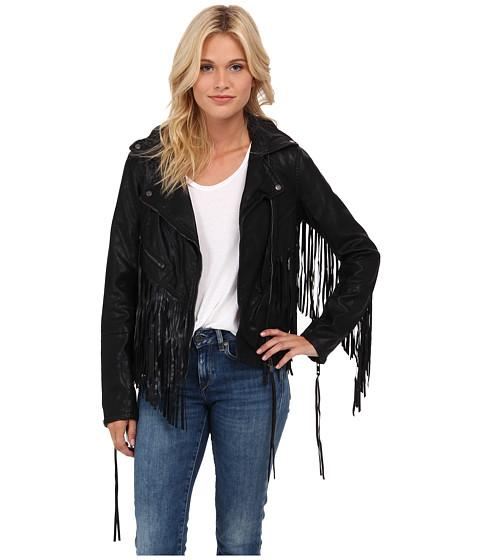 Blank NYC - Fringe Vegan Leather Jacket (Black) Women's Coat