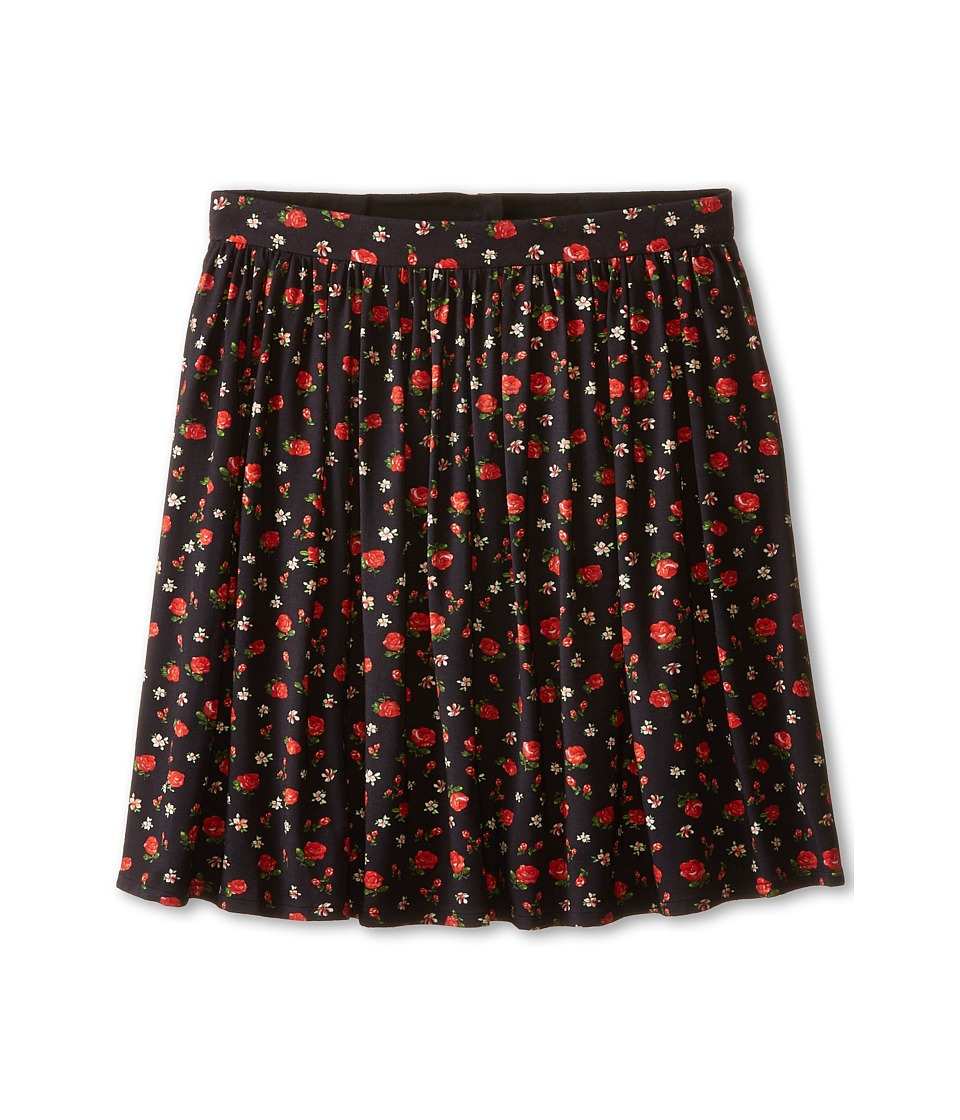 Dolce & Gabbana - Back to School Floral Print Skirt (Big Kids) (Black/Rose Print) Women's Skirt