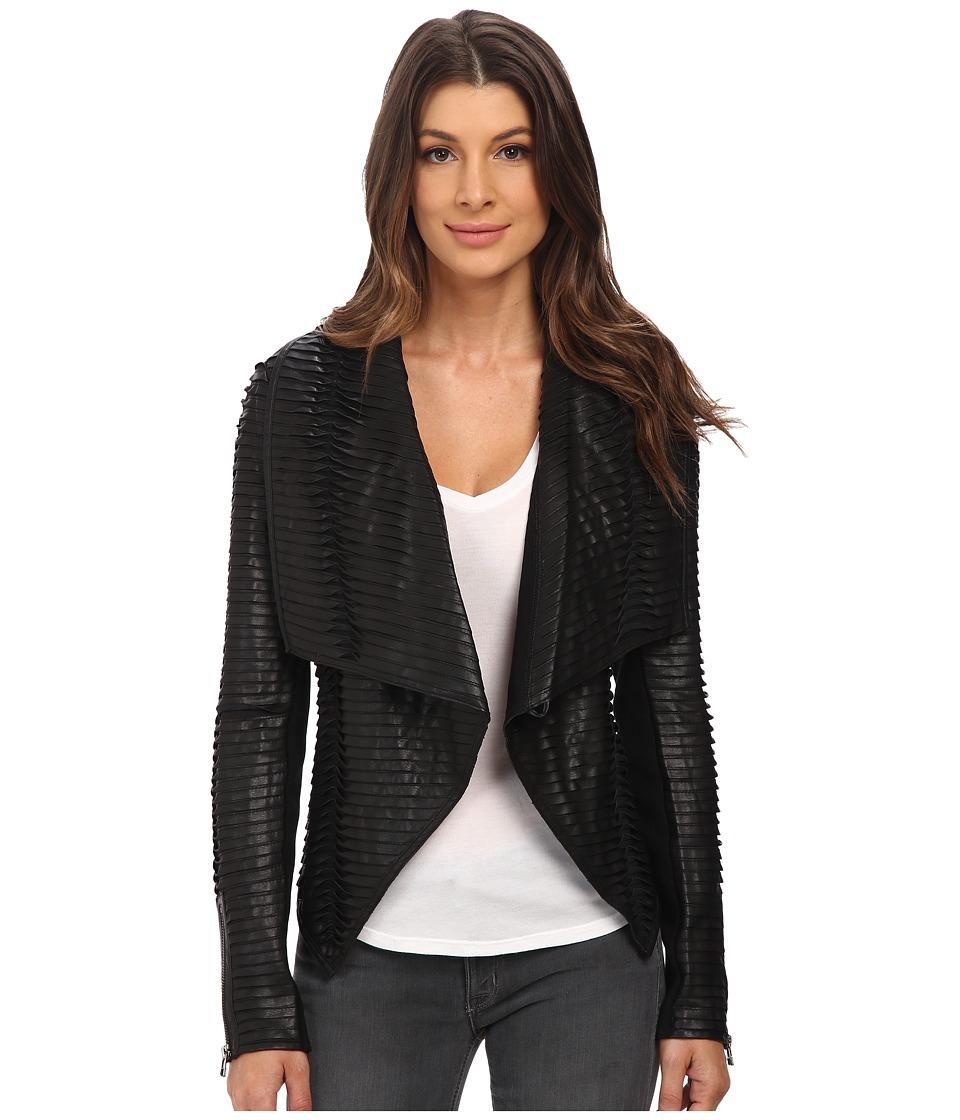 Blank NYC - Vegan Leather Detailed Drape Jacket (Black) Women's Coat