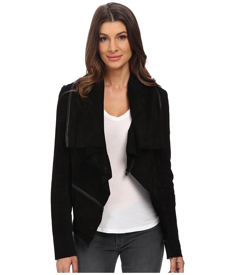 Blank NYC - Suede Drape Jacket (Black) Women's Coat
