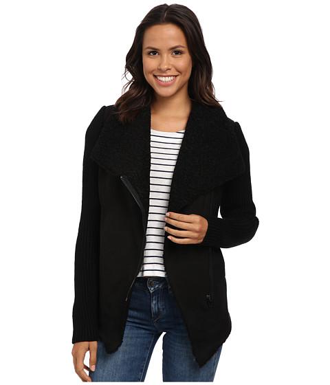 Blank NYC - Faux Suede/Sweater Zip-Up Jacket (Black) Women's Coat