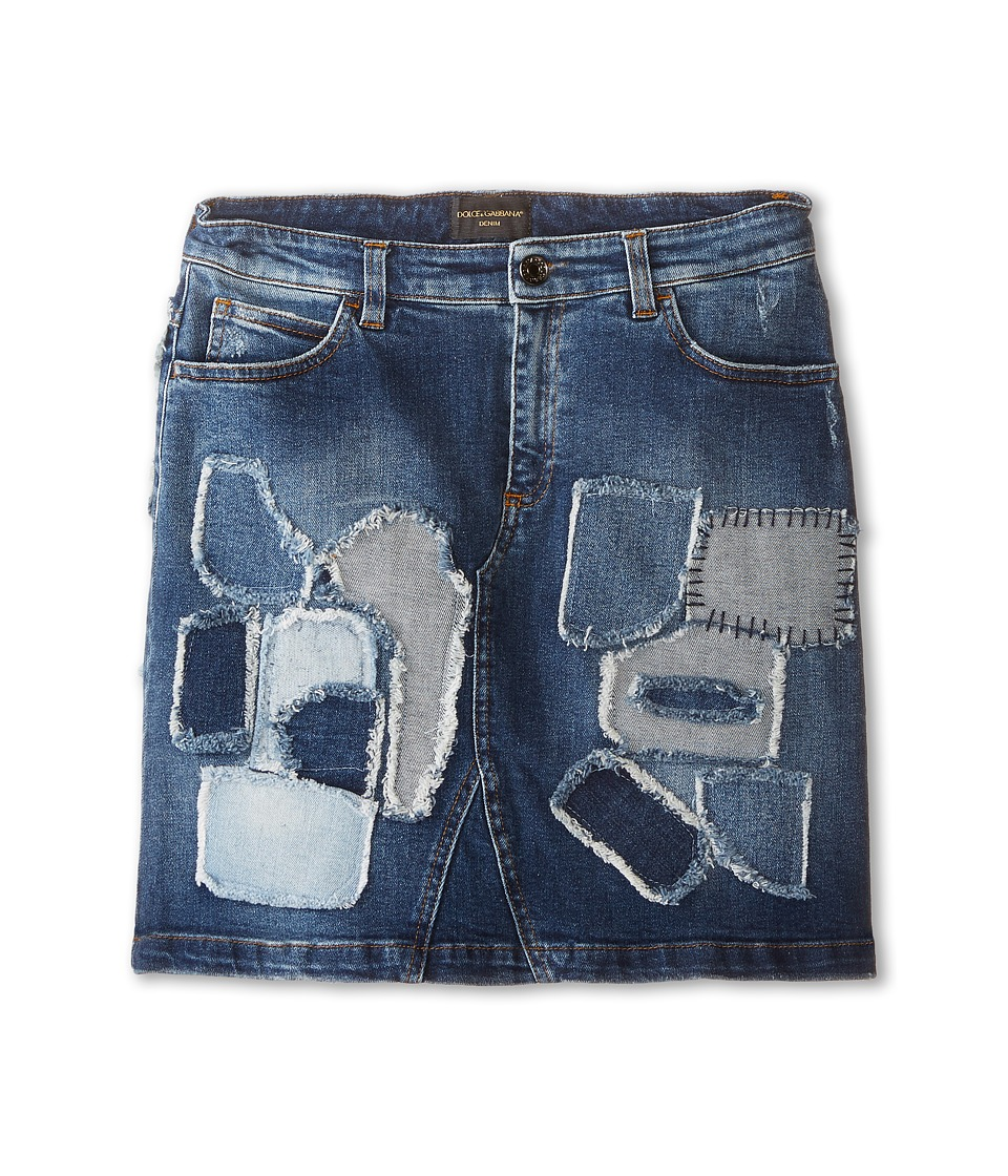 Dolce & Gabbana - Mediterranean Distressed Denim Skirt (Big Kids) (Blue Demin/Patent) Women