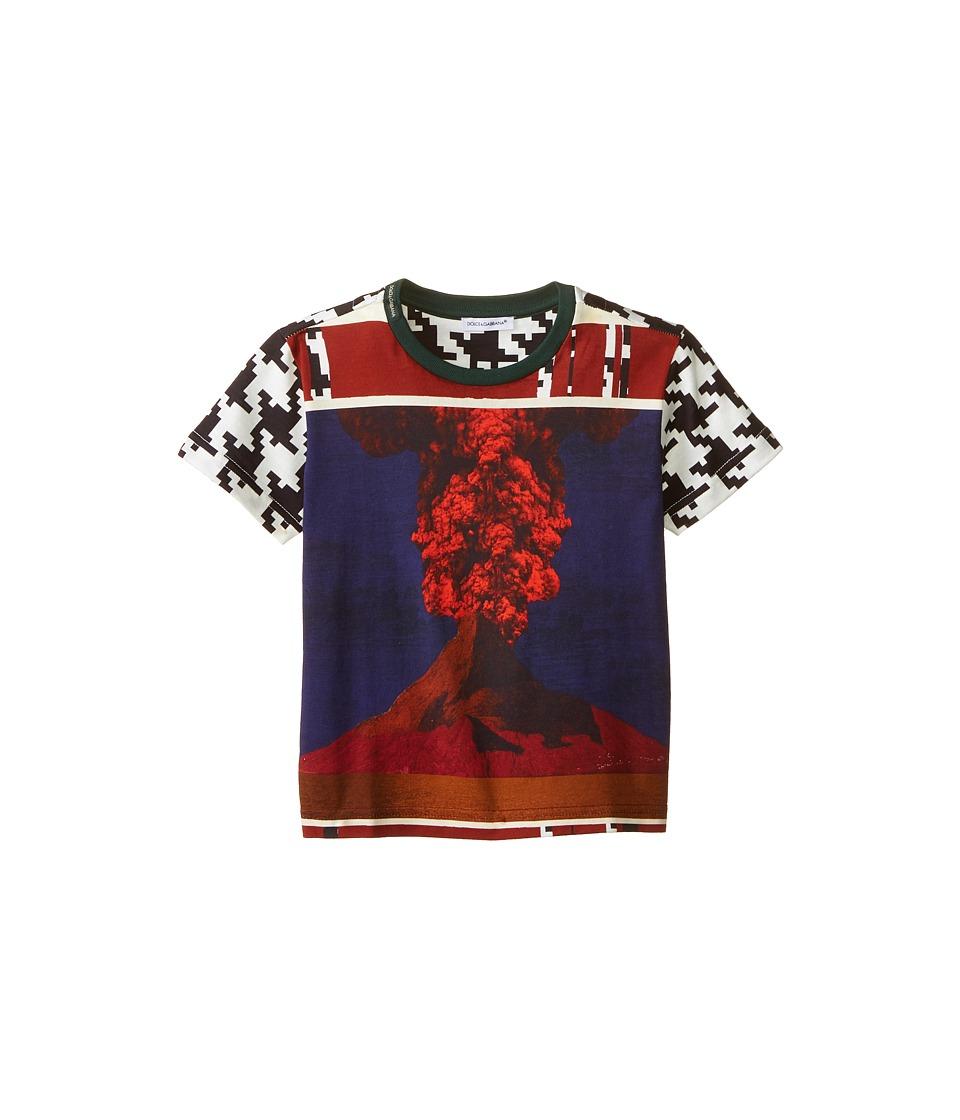 Dolce & Gabbana - Volcano Print Short Sleeve T-Shirt (Toddler/Little Kids) (White/Black/Volcano) Men