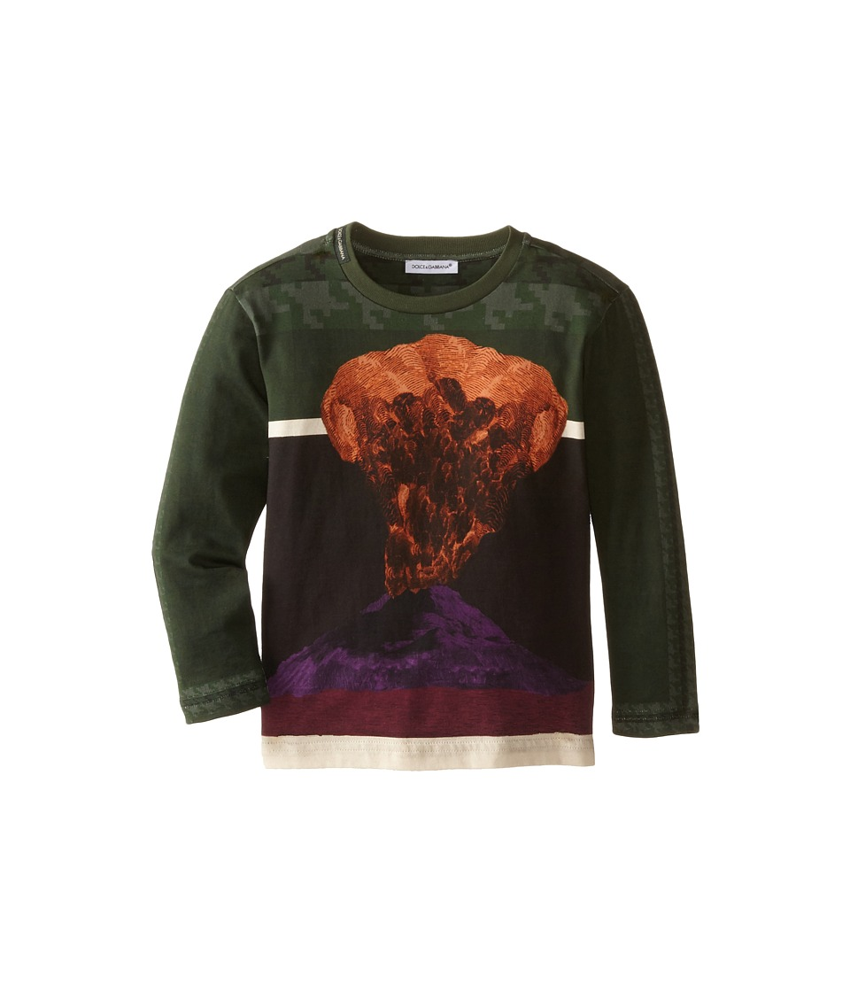 Dolce & Gabbana Kids - Volcano Print Long Sleeve T-Shirt (Toddler/Little Kids) (Green/Volcano Print) Boy's T Shirt