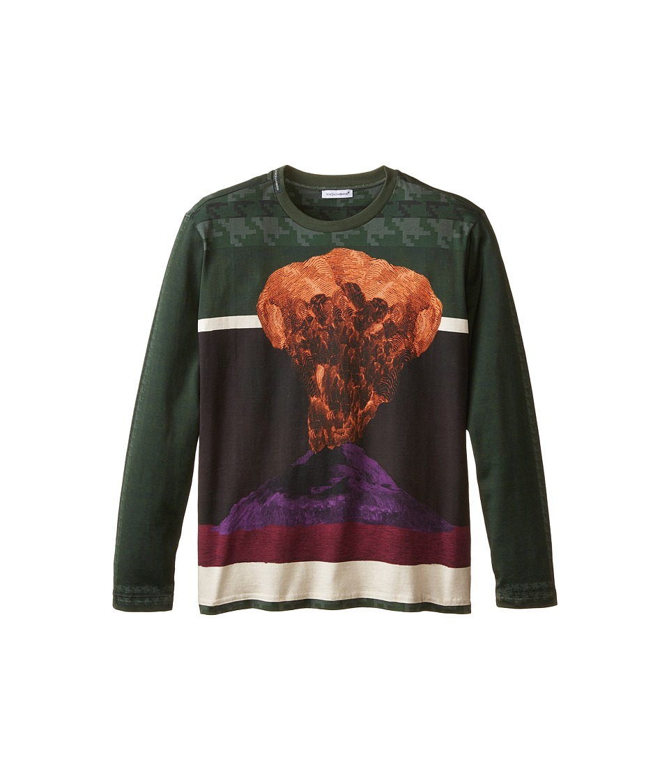 Dolce & Gabbana - Volcano Print Long Sleeve T-Shirt (Big Kids) (Green/Volcano Print) Men