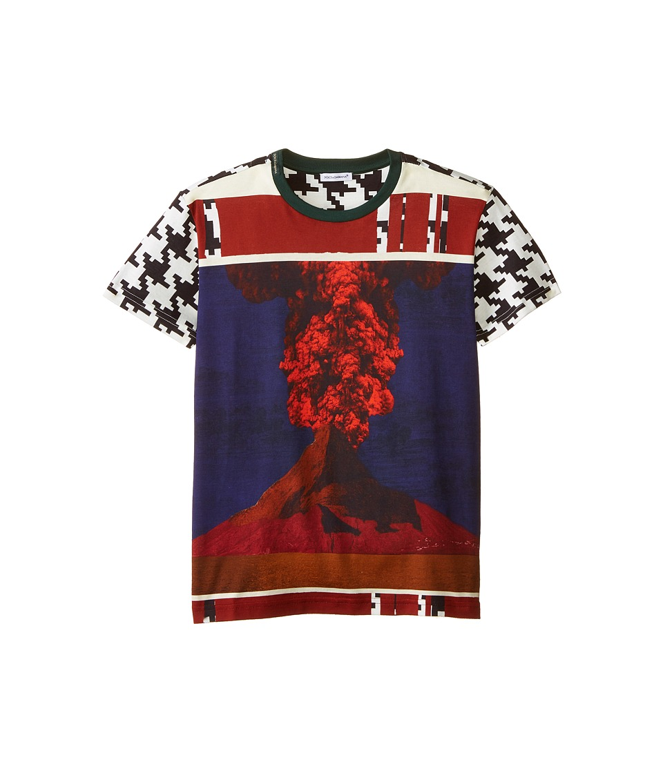 Dolce & Gabbana Kids - Volcano Print Short Sleeve T-Shirt (Big Kids) (White/Black/Volcano) Boy's T Shirt