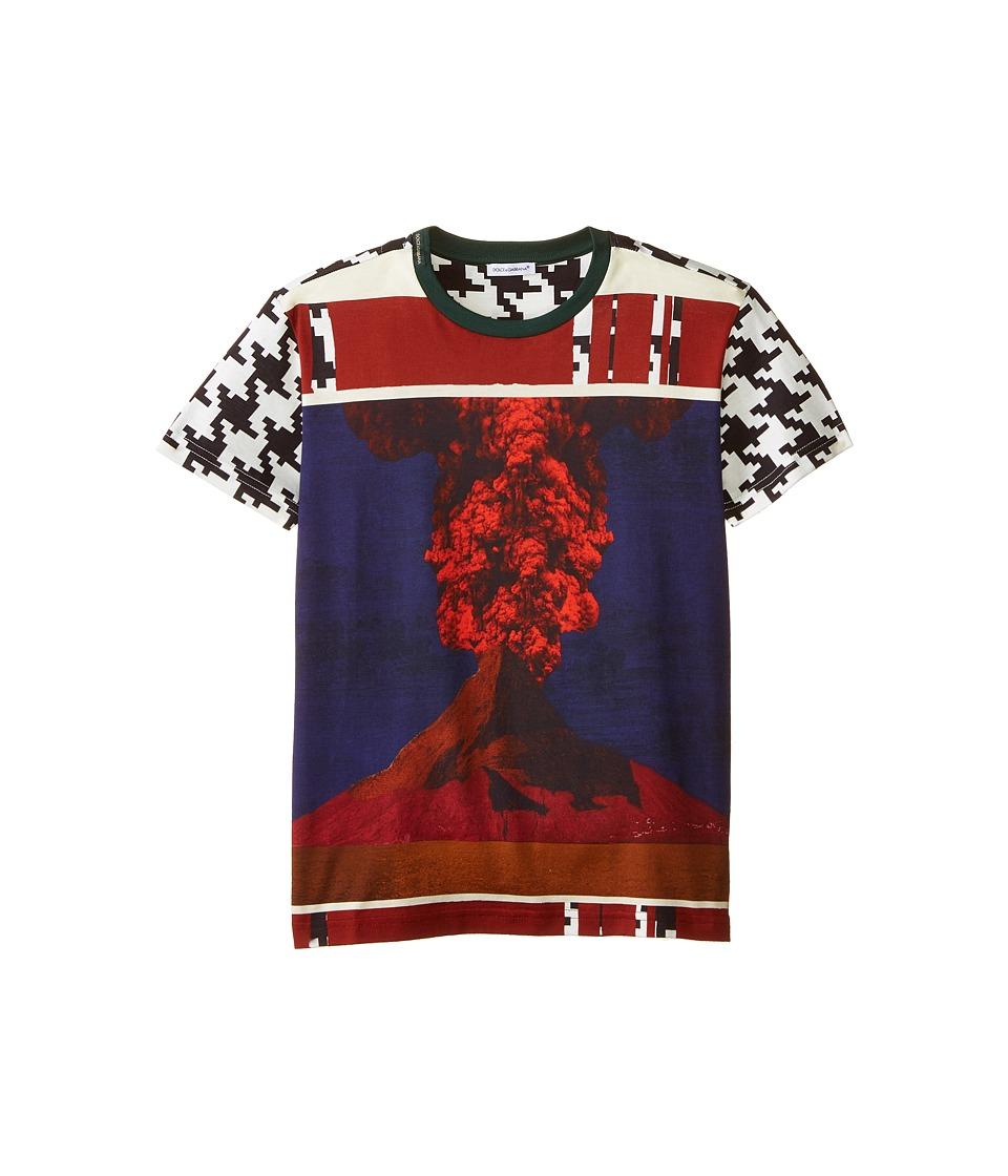 Dolce & Gabbana - Volcano Print Short Sleeve T-Shirt (Big Kids) (White/Black/Volcano) Men