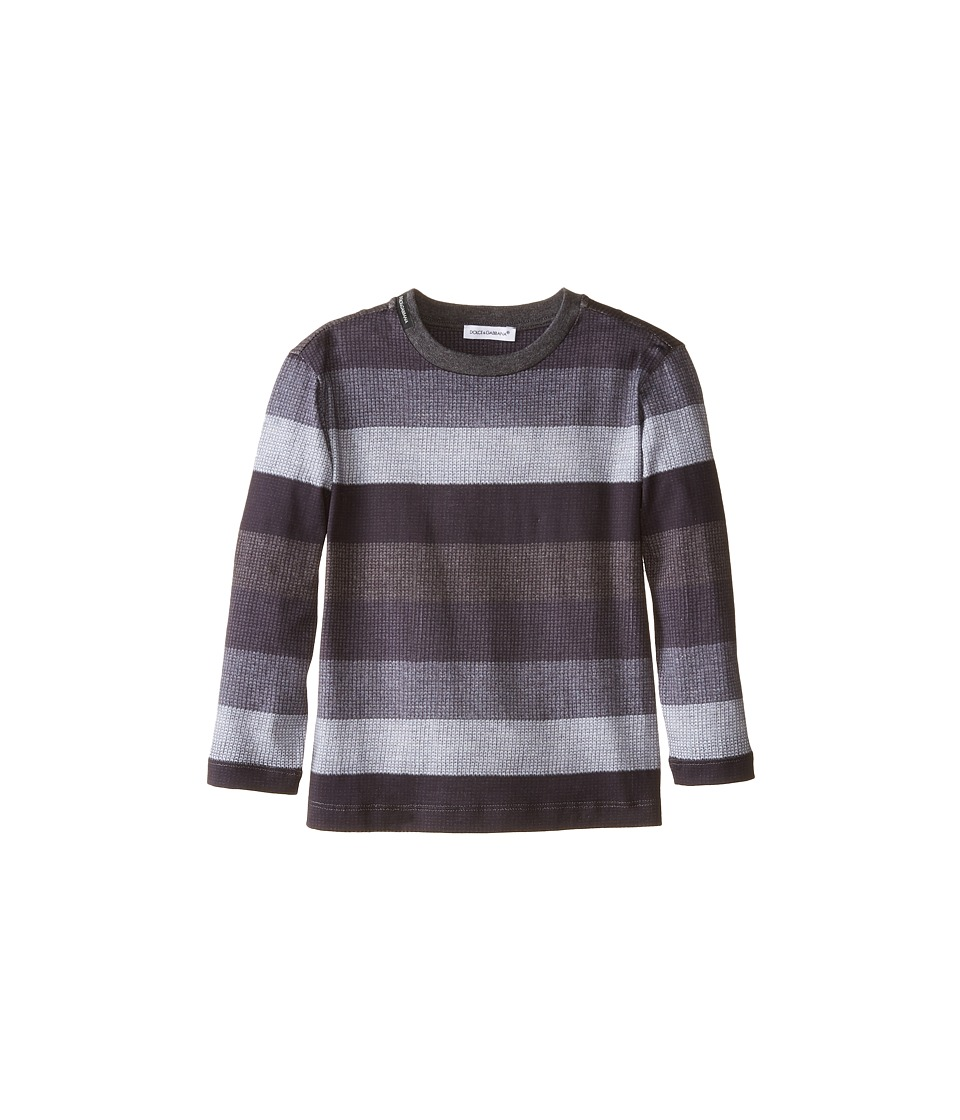 Dolce & Gabbana - Printed Stripe Long Sleeve T-Shirt (Toddler/Little Kids) (Grey/Blue Grey) Men