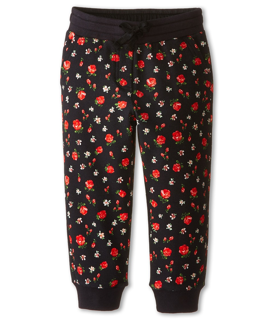 Dolce & Gabbana Kids - Back to School Floral Sweatpants (Toddler/Little Kids) (Black/Rose Print) Girl's Casual Pants
