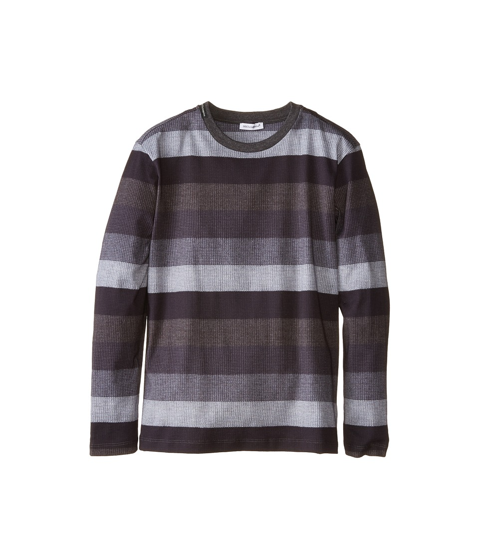 Dolce & Gabbana - Printed Stripe Long Sleeve T-Shirt (Big Kids) (Grey/Blue Grey) Men