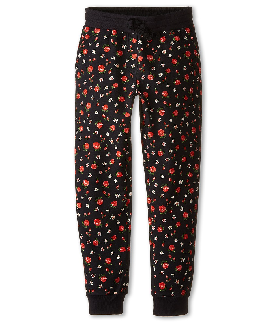Dolce & Gabbana Kids - Back to School Floral Sweatpants (Big Kids) (Black/Rose Print) Girl's Casual Pants
