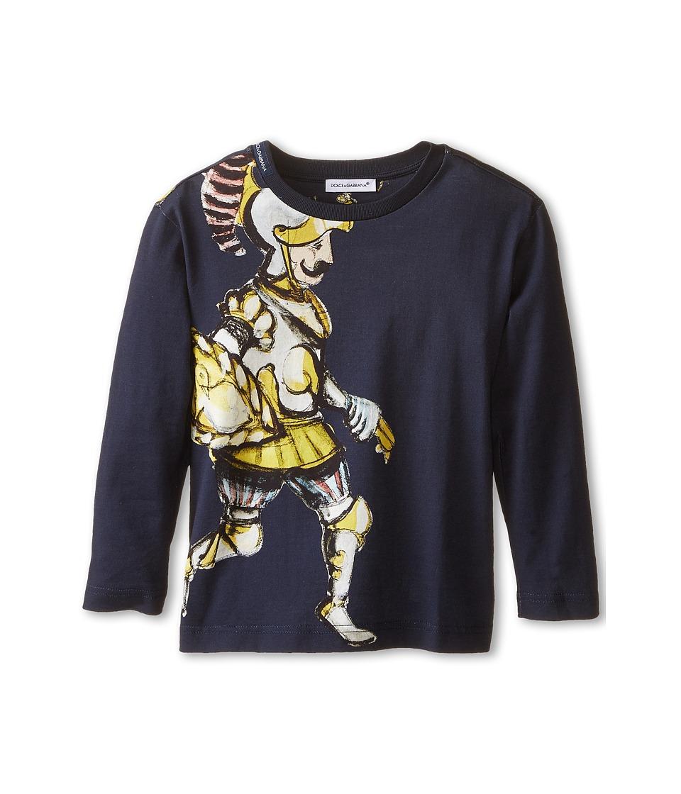 Dolce & Gabbana - King Print Long Sleeve T-Shirt (Toddler/Little Kids) (Black/Roman Print) Men's T Shirt