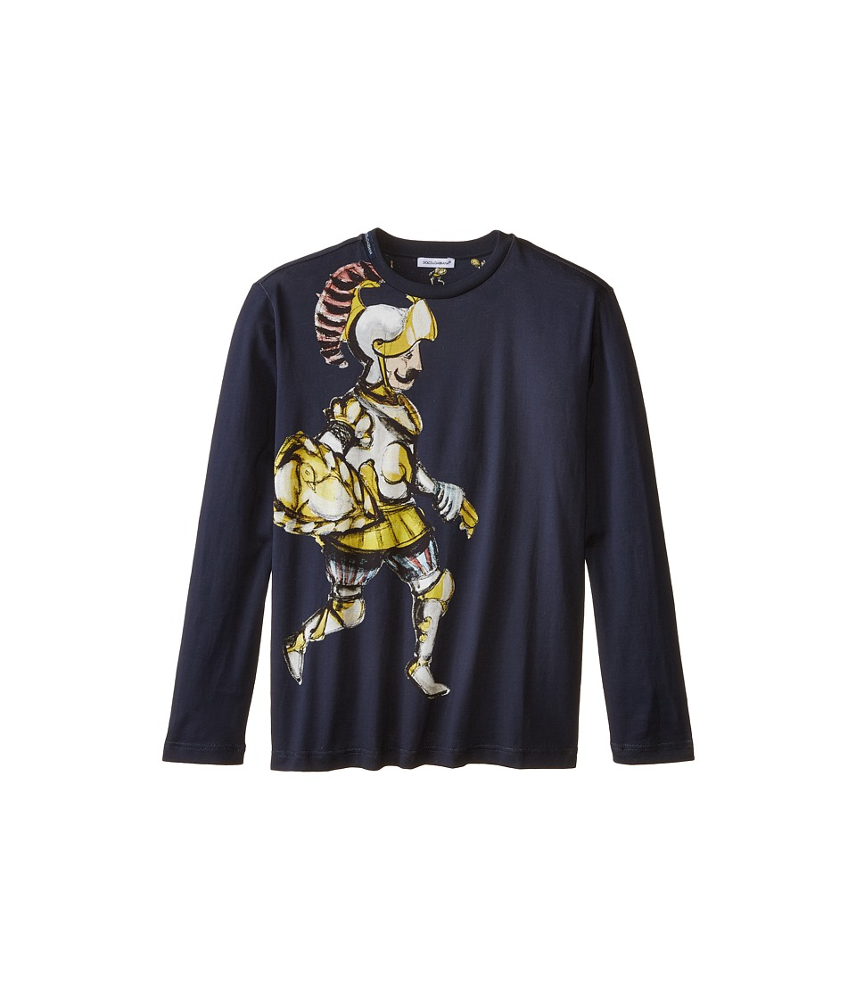 Dolce & Gabbana - King Print Long Sleeve T-Shirt (Big Kids) (Black/Roman Print) Men