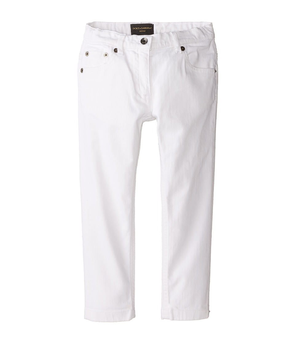 Dolce & Gabbana Kids - Mediterranean Five-Pocket Jeans in White/Denim (Toddler/Little Kids) (White/Demin) Girl's Jeans