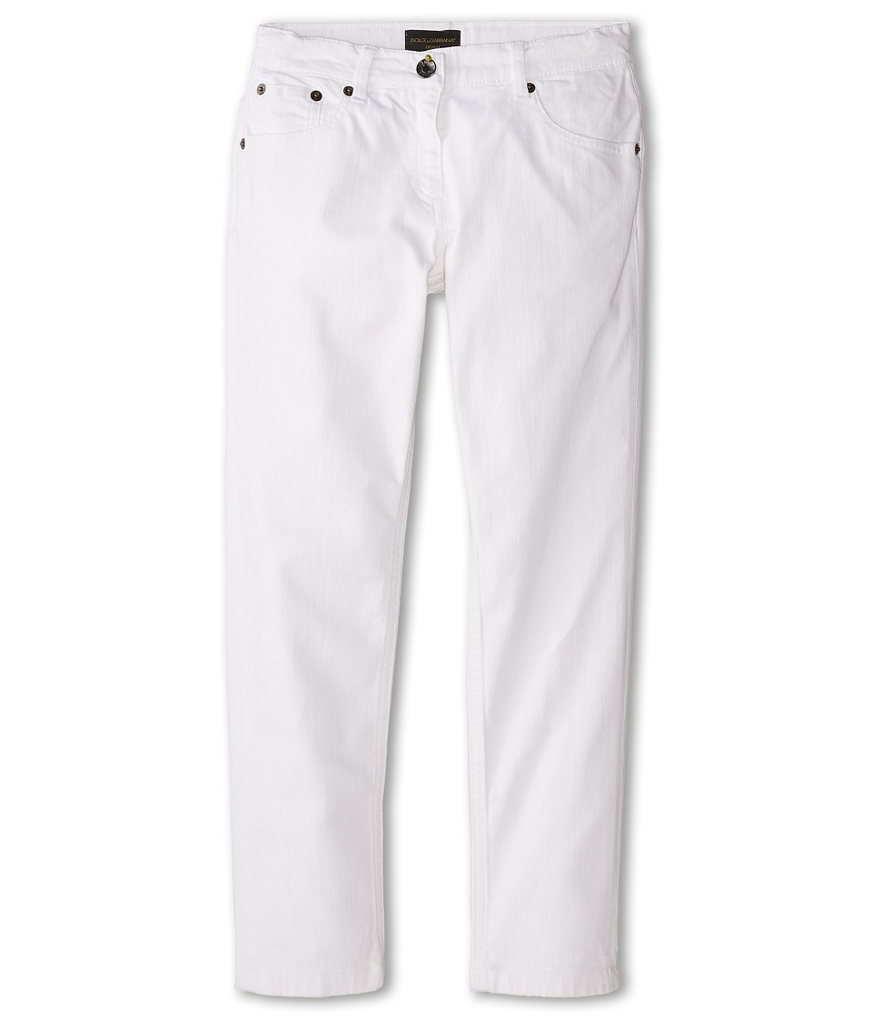 Dolce & Gabbana Kids - Mediterranean Five-Pocket Jeans in White/Denim (Big Kids) (White/Demin) Girl's Jeans
