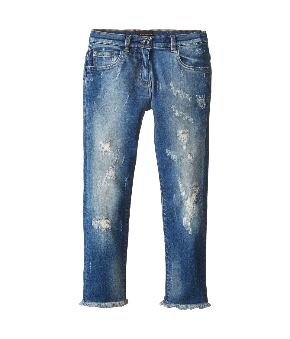Dolce & Gabbana - Ceremony Distressed Jeans in Light Blue/Demin (Toddler/Little Kids) (Light Blue/Denim) Women