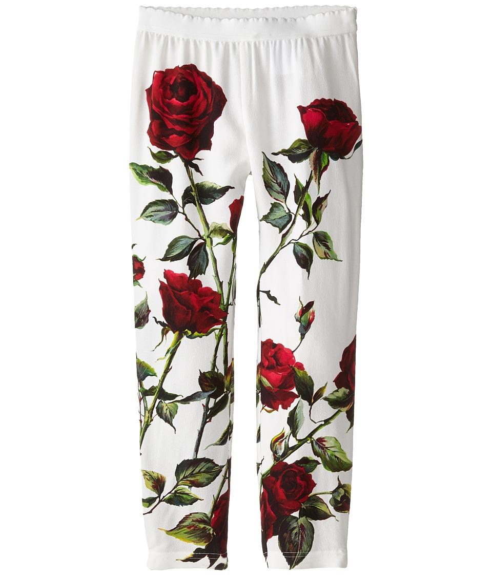 Dolce & Gabbana - Ceremony Rose Print Leggings (Toddler/Little Kids) (White/Rose Print) Women's Casual Pants